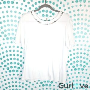 Anthro Postmark Blouse Pearls White Size L